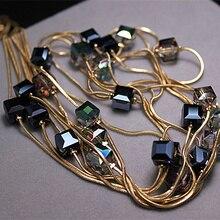 Европейская мода хрустальные ювелирные изделия аксессуары, Австрийский Кристалл бисера длинное ожерелье свитер цепи ожерелье s& Подвески для женщин