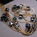 Europa moda jóias acessórios, Longo colar de cristal austríaco colares e pingentes para as mulheres