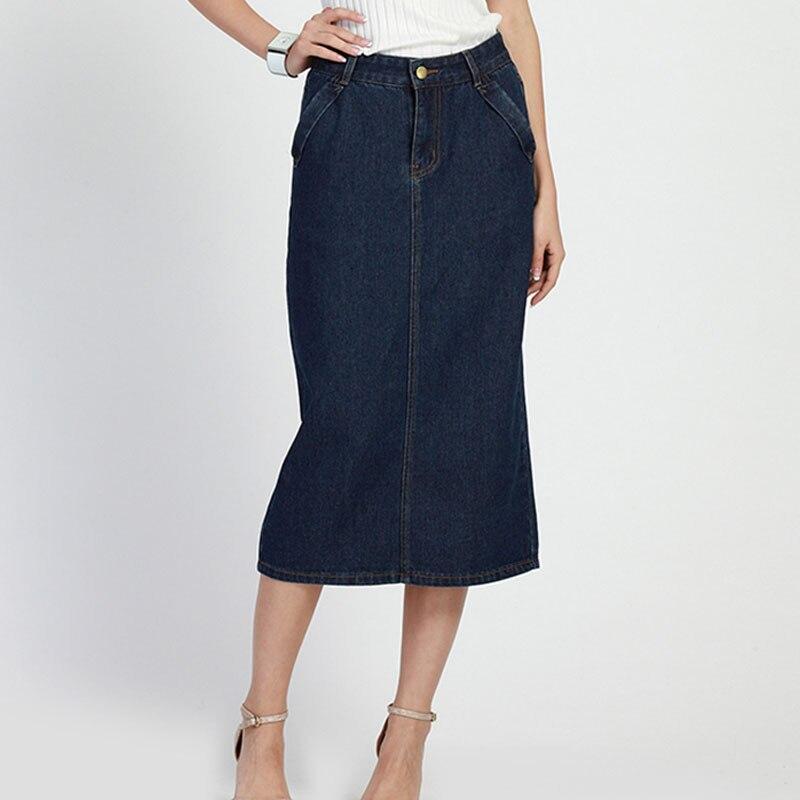 2017 England Style Straight Pockets High Waist Long Denim Skirts ...