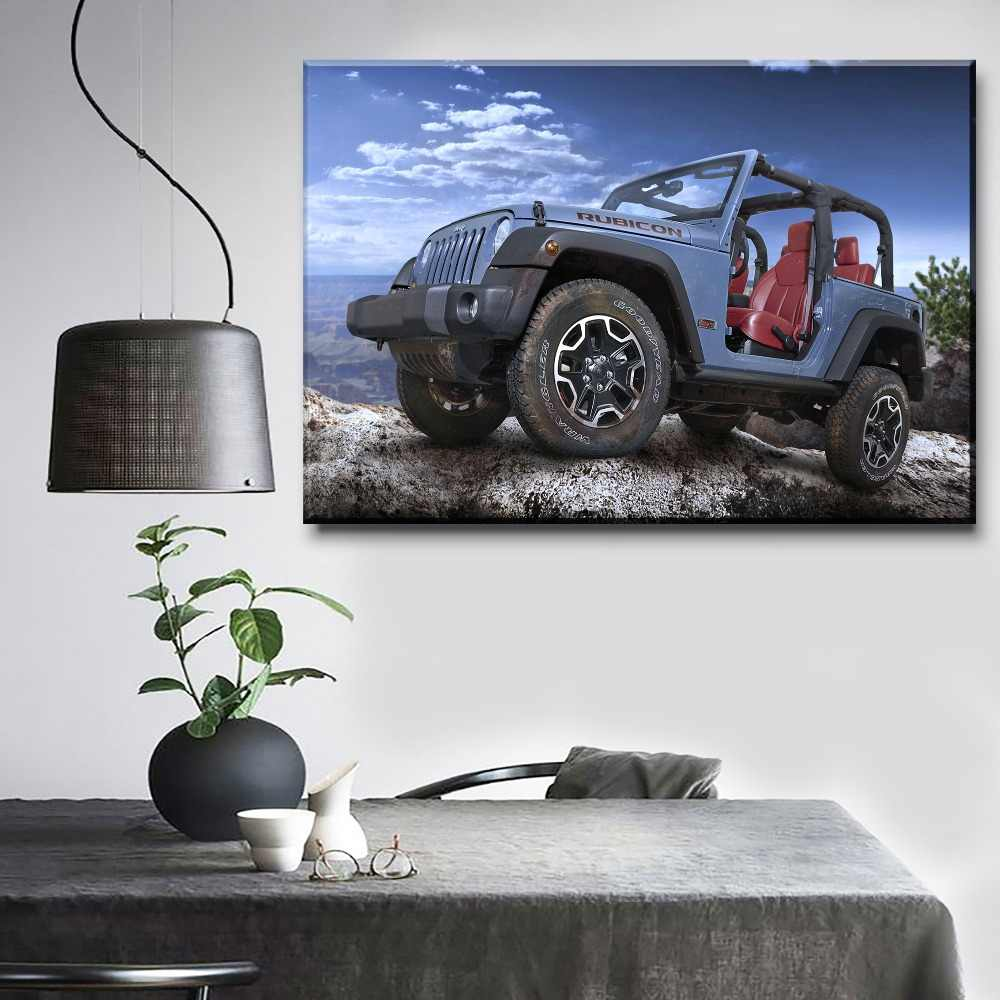 One Set 4 Piece Modular Art Blue Off-Road Vehicle Picture Modern Decorative Office Wall Poster On Canvas Printing Style Painting