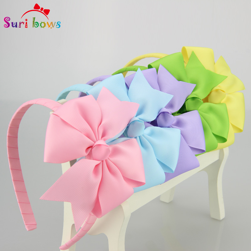 5 pcs/lot 30 colors Girls Hair bands Sweet Grosgrain Ribbon Bow Baby Toddler Hairbands Children Hair Accessories for Girls FS010