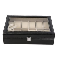 10 Grids Slots Leather Watch Display Box Jewelry Storage Organizer Case Locked Watch Display Box With
