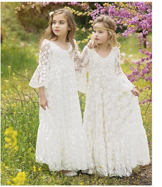 Girl's Formal Dress 2017 Flare Sleeve Flower Girls Princess Dresses V-Neck Kids Long Party Street Style Children's Lace Dress long sleeve flare choker dress