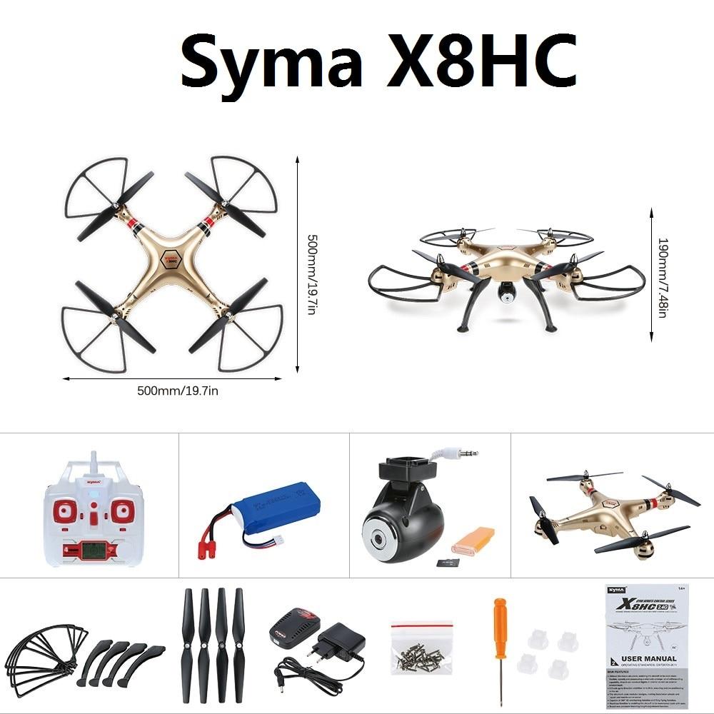 Actualizado x8c x8hc syma rc drone con cámara de 2mp hd 2.4g Headless Modo Altit