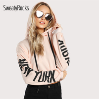 SweatyRocks Drop Shoulder Letter Print Sleeve Hoodie Women Pink Long Sleeve Sporting Pullovers Sweatshirt 2017 Casual