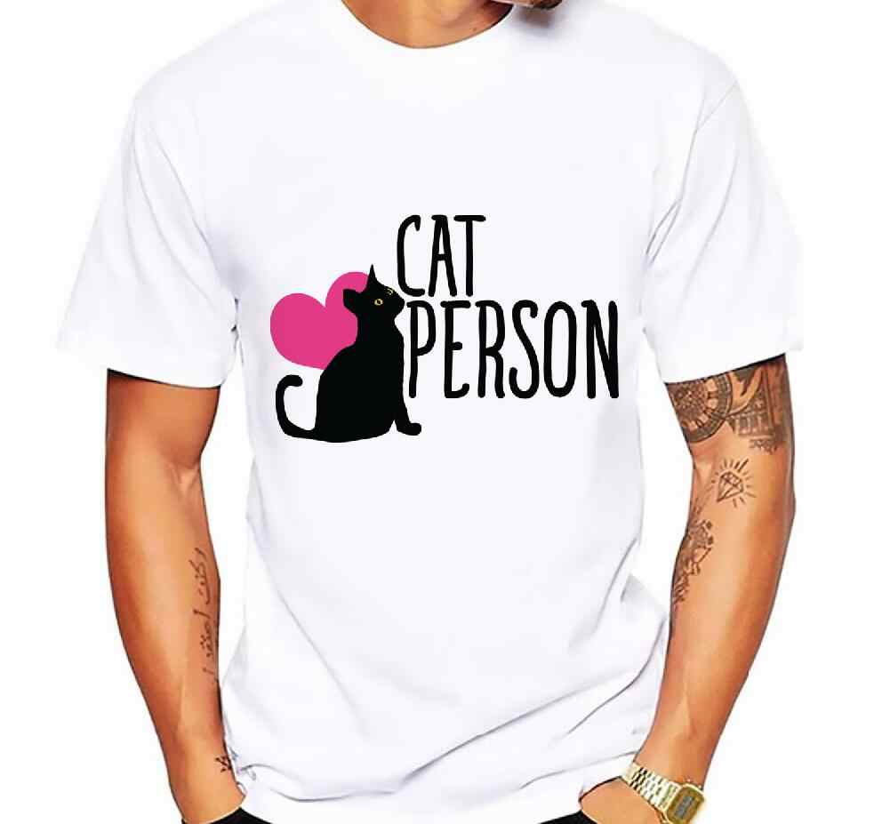 Cat Dad Men's T-Shirt Fun Print Black Cat Letter T Shirt Men Summer Fashion Brand Round Neck Short Sleeve Casual Tshirt