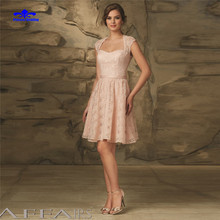 Vintage Pink Short Lace Bridesmaid Dress Abiti Da Damigella Belt Cap Sleeve Wedding Party Guest Dresses