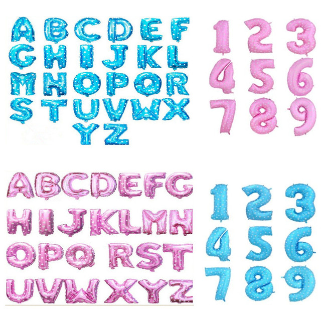 1pcs 16 Cute Blue Pink Alphabet A Z Foil Letters Number 0 9