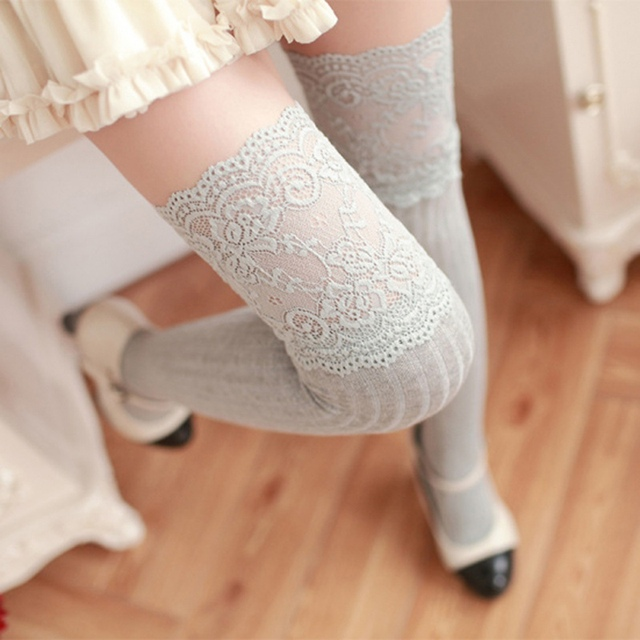 bd1a225e714 Women Lace Knitting Thigh Stockings Cotton Over Knee High Socks Pantyhose  Tights