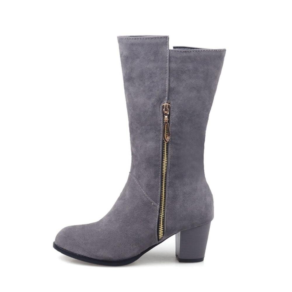 ФОТО  Winter Women Wide Calf Riding Boots Yellow Gray Sexy Lady Nude Shoes Chunky Heel EMC53 Big size 45 43