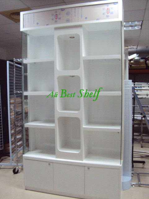 nice looking modern shelving. Wooden display cabinets nice looking modern design with acrylic and lights  on top under cabinet