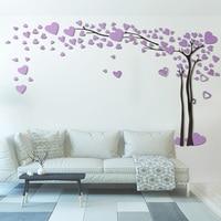 3d الاكريليك الحب شجرة كبيرة مرآة ملصقات الحائط غرفة المعيشة أريكة التلفزيون جدار ديكورات pegatinas دي قلص ملصقات ديكور المنزل