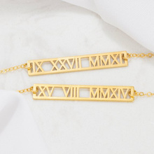 цены Long necklace Custom Roman numerals gold pendant Personalized date commemorative stainless steel jewelry Anniversary gift Birthd