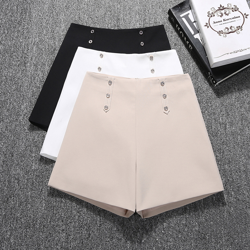 GUMPRUN Women Biker Shorts 2019 Summer Fashion Button High Waist Wide Leg Commuting Shorts Black White Wild Casual Shorts