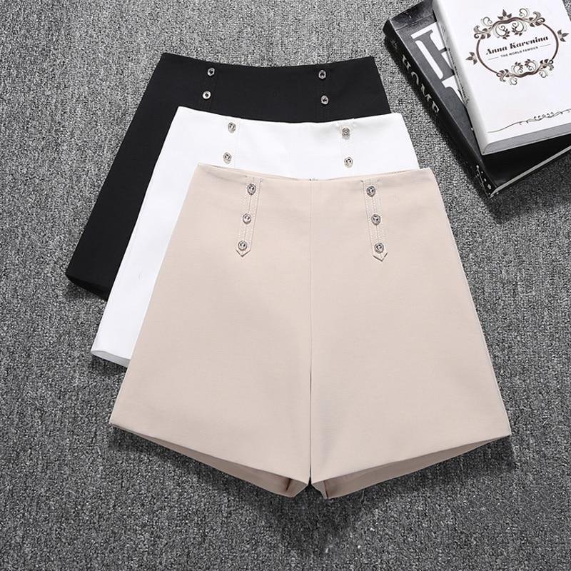 GUMPRUN Women Biker   Shorts   Summer New High Waist Fashion   Shorts   Simple Wide leg Black White Casual Womens   Shorts