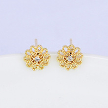 (142) 6PCS 7MM 24K Gold Color Plated Brass Hollow Flower with Zircon Stud Earrings High Quality DIY Jewelry Making Findings