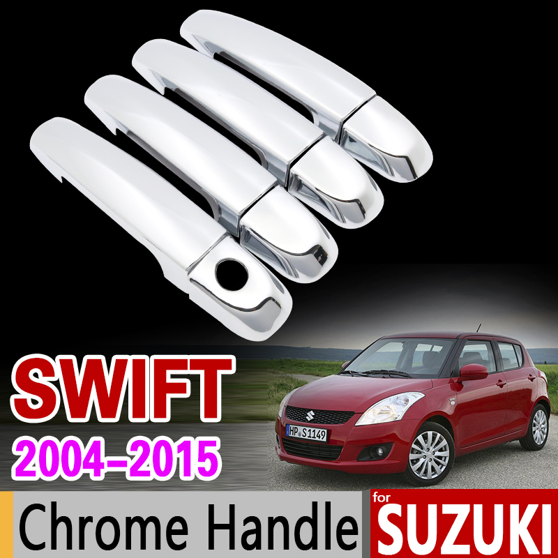 for Suzuki Swift 2004 - 2015 Chrome Handle Cover Trim Set Maruti DZire 2005 2007 2009 2011 2013 Accessories Stickers Car Styling for suzuki splash 2007 2014 chrome handle cover trim set of 4door 2008 2009 2010 2011 2012 2013 accessories sticker car styling