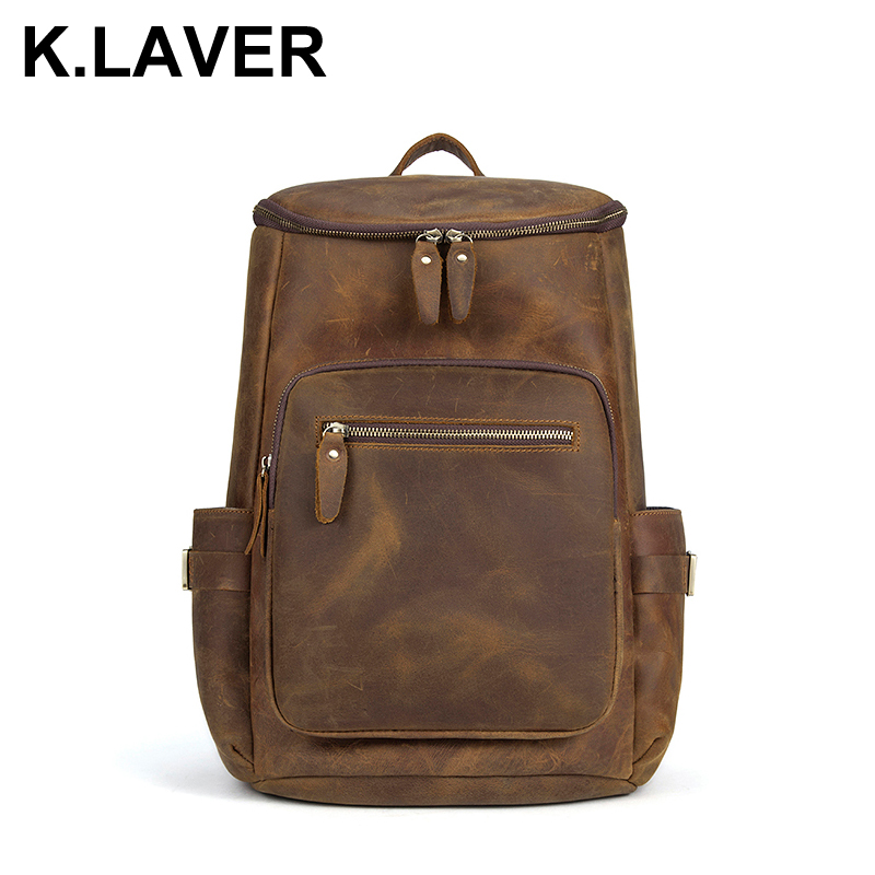 Men Vintage Backpack Crazy Horse Genuine Cowhide Leather Shoulder Bag Casual Daypacks Laptop Backpacks Travel School Male Bags male bag vintage cow leather school bags for teenagers travel laptop bag casual shoulder bags men backpacksreal leather backpack