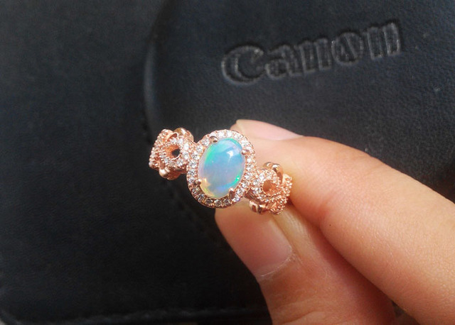 Natural fire Opal ring Genuine solid 925 sterling silver woman gemstone rings jewelry