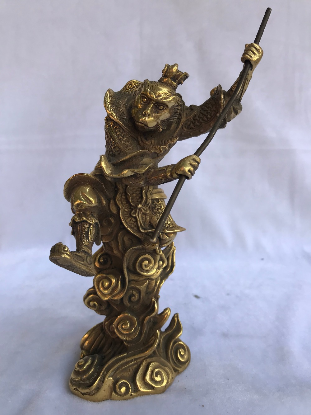 Chinese Bronze copper Myth Monkey King Sun Wukong Statue Sculpture