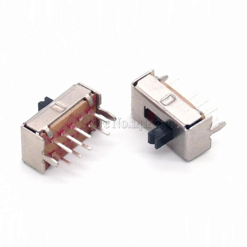 Yohii 60 Pcs x DC 50V 0.5A 3 Position 2P3T DP3T Panel Slide Switch 8 Pin PCB SS23E04 Mini Vertical Slide Switch