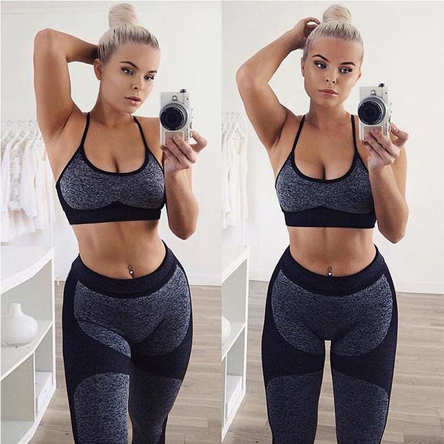 2PCS Seamless Yoga Sets with High Waist Patchwork and Leggings