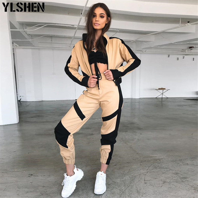 2 Two Piece Set Women Sporting Clothes Streetwear Short Baseball Jackets Patchwork Two Piece Set Top And Pants Outfits Tracksuit