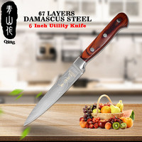 QING 6 inch Utility Knife 2018 NEW Arrival VG10 Damascus Steel Knife Sharp Damascus Kitchen Knife Ergonomic Design Kitchen Tools