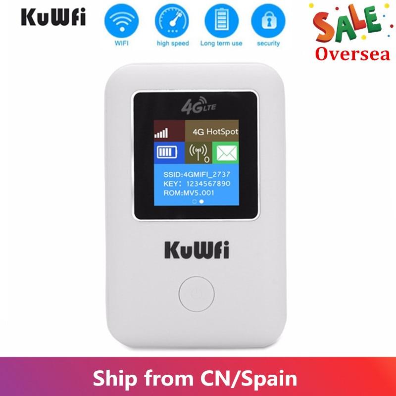 KuWFi 4G Router WI-FI LTE Desbloqueado Roteador Sem Fio Portátil MINI Router Bolso 4G Carro Modem Roteador Wi-fi Com slot Para Cartão Sim