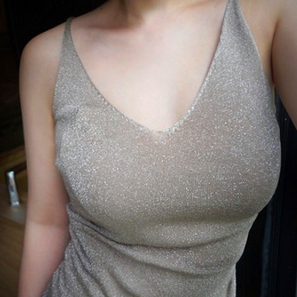 Women Sexy Knitted Tank Tops femme shinny Thread Top Vest Sequined V Neck Tank Tops brilliant Camis 2018 bodycon club mujer