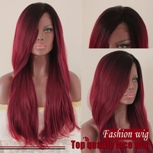 Free Shipping Heat Resistant Ombre Red Natural Straight Synthetic Lace Front Wigs Free Part Natural Lace Front Wigs On Sale