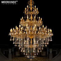 Luxurious Huge Crystals Chandelier Lighting Fixture Vintage Lustres Hanging Lamp for Villa Hotel Project Candle Luminaires Light