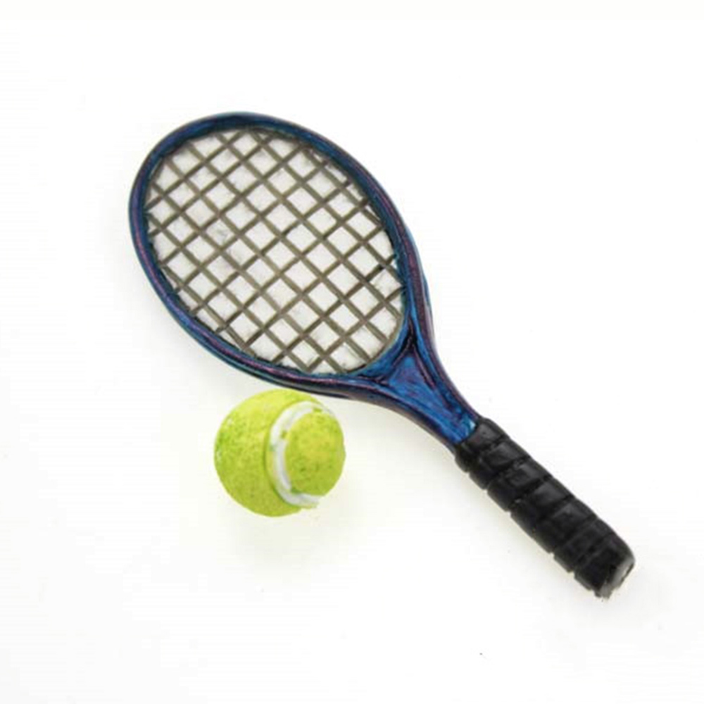 1/12 Dollhouse Miniature Accessories Mini Resin Tennis Racket With Ball  Simulation  Sports Equipment Toys For Doll House Decor