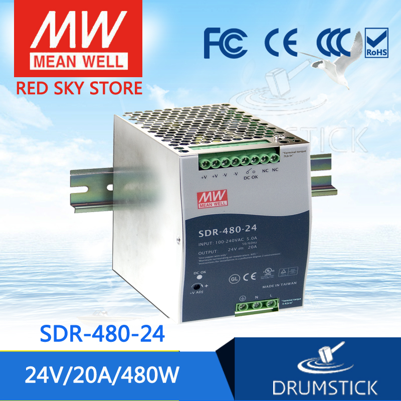 MEAN WELL SDR-480-24 24V 20A meanwell SDR-480 24V 480W Single Output Industrial DIN RAIL with PFC Function mean well original sdr 480p 24 24v 20a meanwell sdr 480p 24v 480w industrial din rail with pfc and parallel function