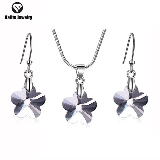 oaiite Jewelry Sets For Women African Beads Plant Flowers Pendant Necklace Crystal Dangle Earrings Wedding Dress Accessories