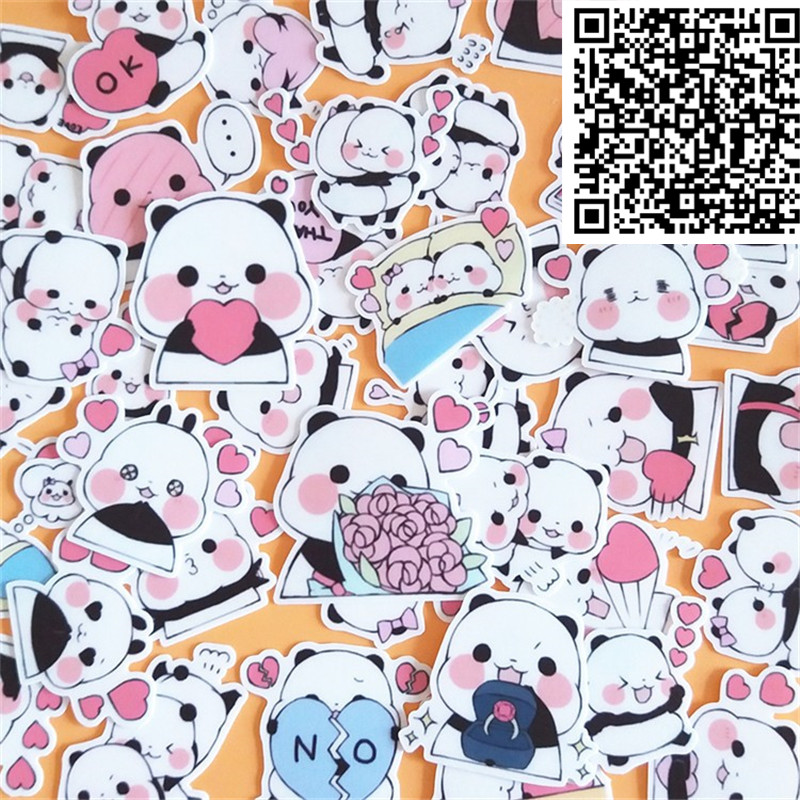 Image 2 - 40 pcs Cute little panda cartoon Stickers for  phone Decorative waterproof sticker Scrapbooking For Laptop Children-in Stickers from Toys & Hobbies