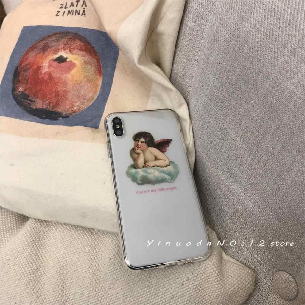 "Yinuoda transparent hollow Vintage oil painting style cute little angel ""God bless you"" phone case for iphone X XS 7 8 iPhone 11"