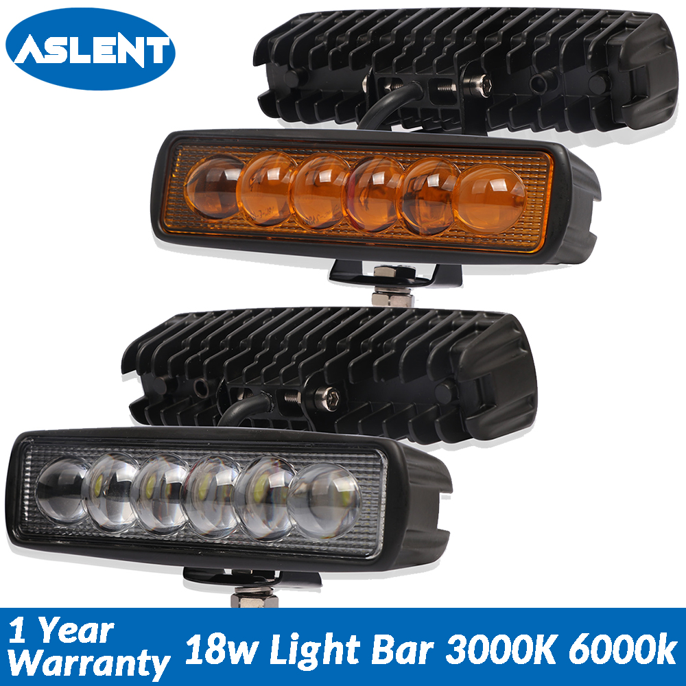 Aslent 6 inch 18W Lens LED Work Light Spot Beam Led Lamp Bar Driving Lights Offroad 4x4 Truck 4WD ATV SUV 3000K 6000K 12v 24v