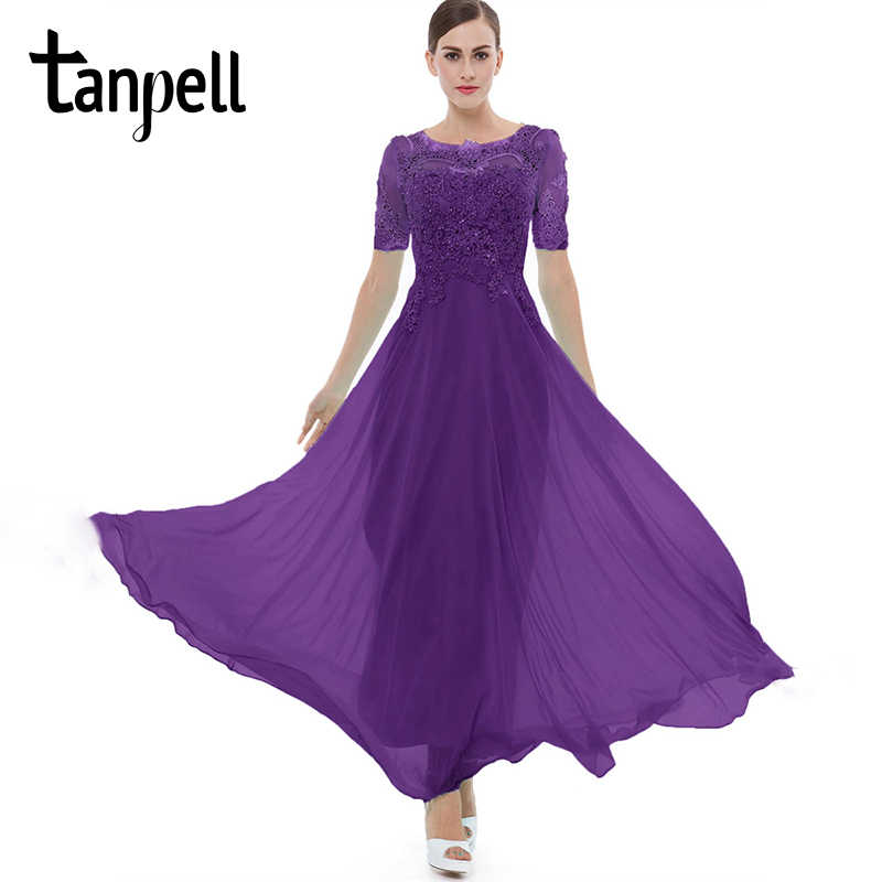 16290b84eb4 Tanpell purple long evening dress lace beading o neck short sleeves ankle  length a line dress