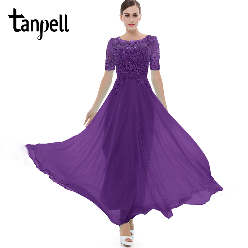 Tanpell purple long   evening     dress   lace beading o neck short sleeves ankle length a line   dress   women formal prom   evening     dresses