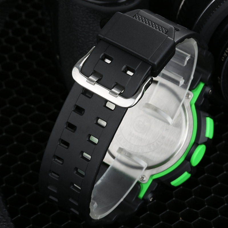 Famous Brand OHSEN New Fashion Digital Quartz Mens Wristwatch Rubber band LCD Alarm Green Sport Army Diving Watches relojes