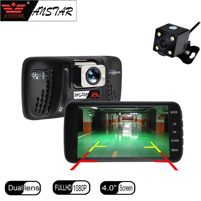 Anstar 4'' Car Dvr Camera Dual Lens Dash cam 1080P Full HD Car Camera DVRS Rear view Video Recorder Parking Monitor Registrator цена 2017