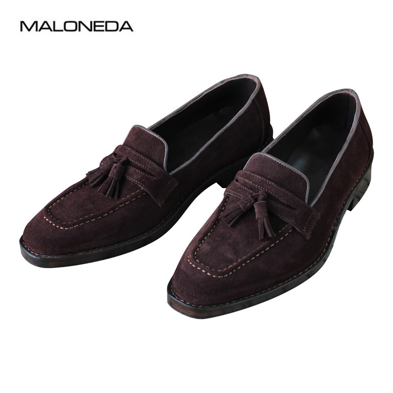 MALONEDA High Quality Casual Handmade Men's Tassel Shoes Genuine Cow Suede Comfortable Slip On Loafers With Goodyear Welted