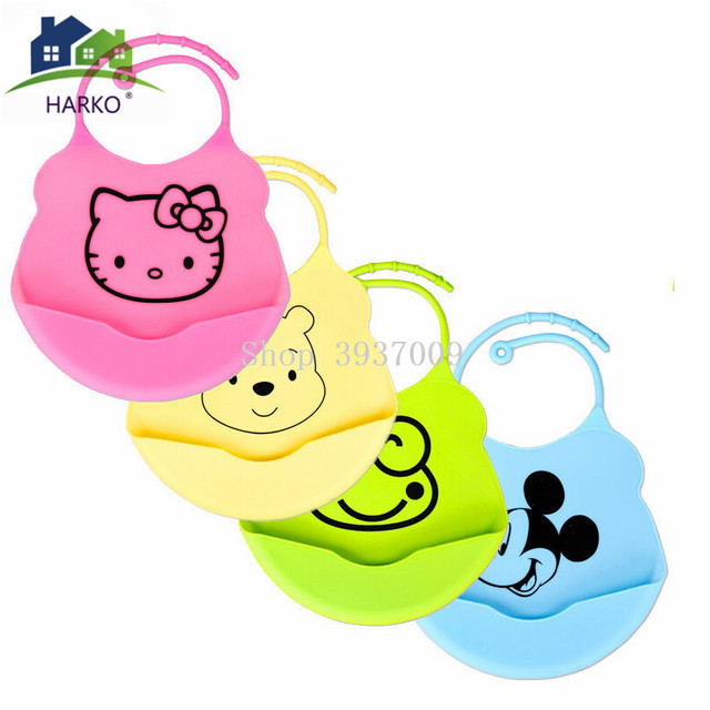 HARKO New Design Cartoon Waterproof Aprons Baby Bibs for newbron Waterproof Silicone Feeding Baby Saliva Towel