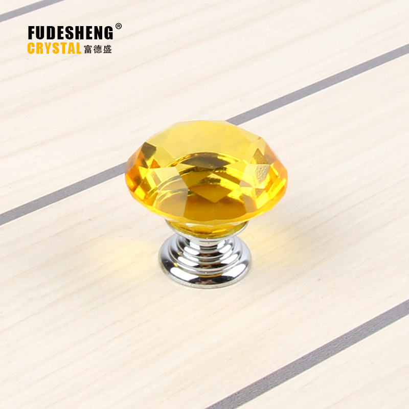 Kitchen Cabinet Drawer Handle Modern Decorative Furniture Accessories Wholesale K9 Yellow Crystal Knobs 30MM