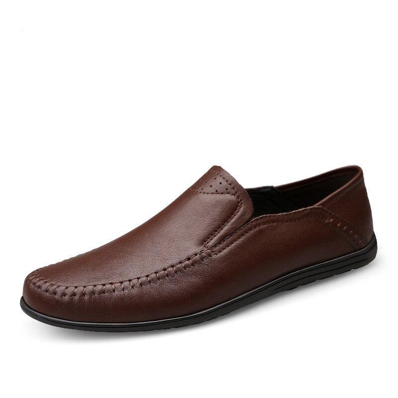 Size 46 Men Casual Shoes Fashion Men Shoes Genuine Leather Men Loafers Moccasins Slip On Men's Flats Male Driving Shoes #3350