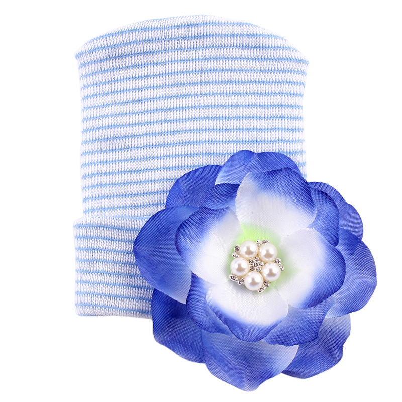 1 Pc Hospital Newborn Hat Baby Girl Cotton Beanie With Bow Newborn Soft Knit Infant Striped Caps Baby Toddler Hat Accessories