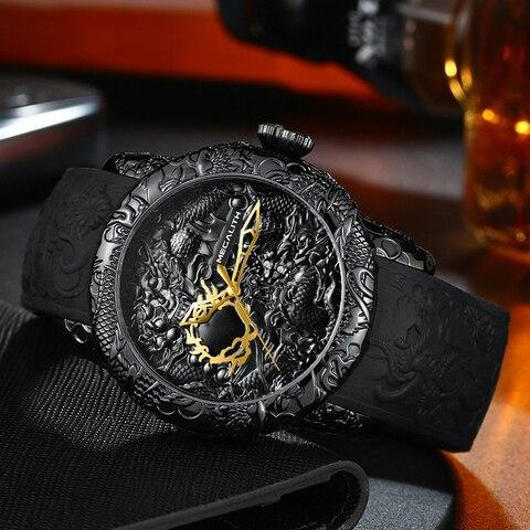 MEGALITH Fashion Gold Dragon Sculpture Watch Men Quartz Watch Waterproof Big Dial Sport Watches Men Watch Top Luxury Brand Clock Karachi