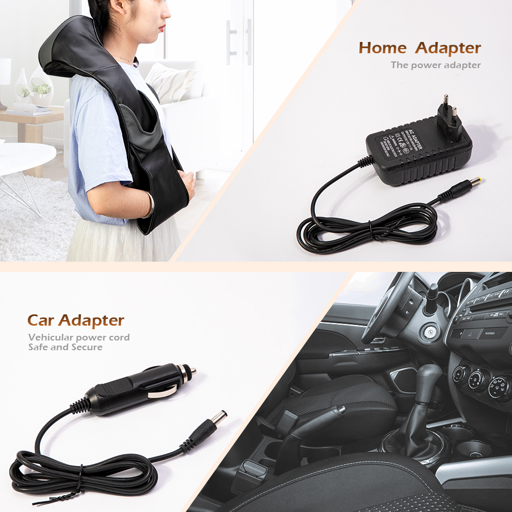 Electrical Shiatsu Back Neck Shoulder Body Infrared Heated Kneading Massager For Car/Home 3