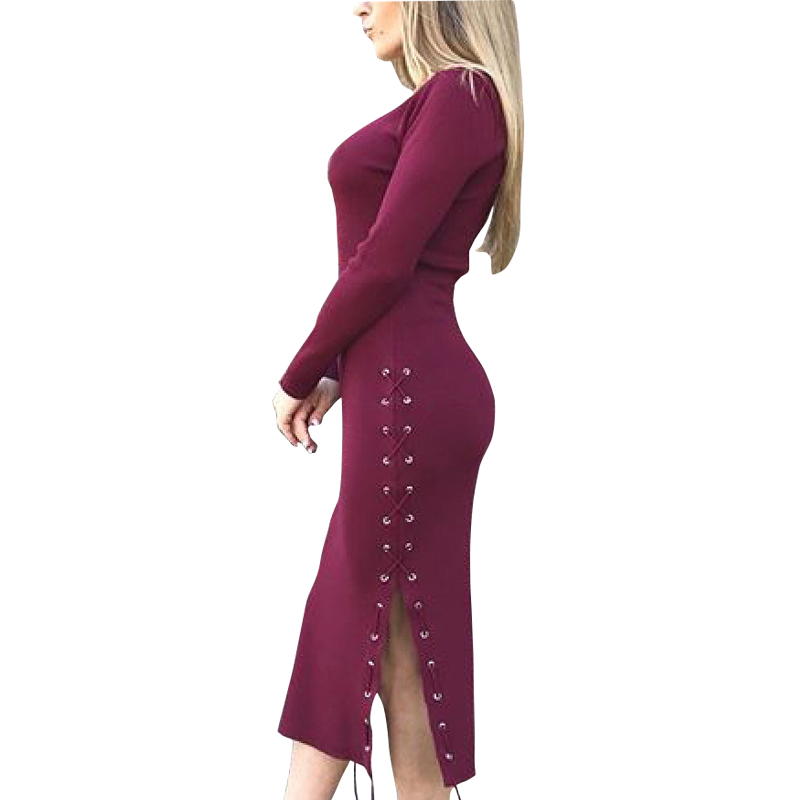 Lace Up Spit Side Sexy Women Mid-Calf Dress Long Sleeve Knitting Bodycon Vestido 2017 Winter Femme Sheath Knitted Dresses GV1041